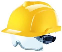Safety helmet Yellow with safety glasses. Tested to 1000 volts