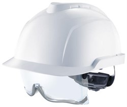 Safety helmet White with safety glasses. Tested to 1000 volts