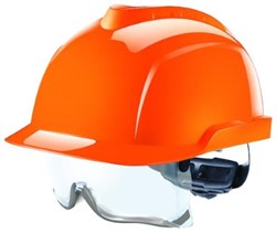 Safety helmet Orange with safety glasses. Tested to 1000 volts
